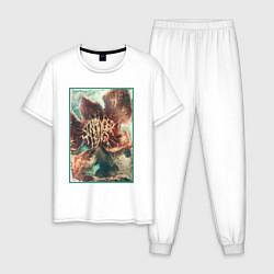 Пижама хлопковая мужская Stranger Things: Monster Flower цвета белый — фото 1