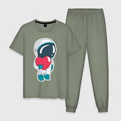 Пижама хлопковая мужская Влюбленный космонавт цвета авокадо — фото 1