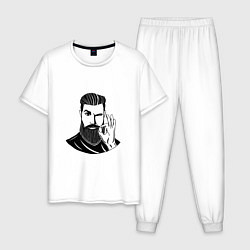 Пижама хлопковая мужская Мистер Борода цвета белый — фото 1