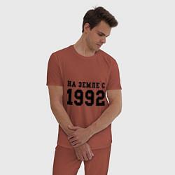 Пижама хлопковая мужская На Земле с 1992 цвета кирпичный — фото 2