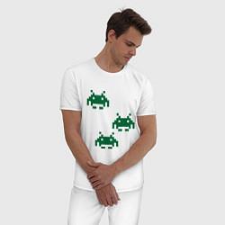 Пижама хлопковая мужская Space invaders 8 bit цвета белый — фото 2