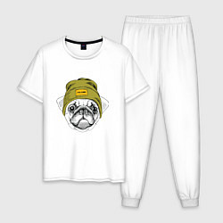 Пижама хлопковая мужская Мопс рэпер цвета белый — фото 1