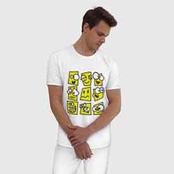 Пижама хлопковая мужская Смайликов кучка цвета белый — фото 2