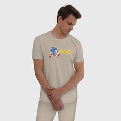 Пижама хлопковая мужская Монетный Соник цвета миндальный — фото 2