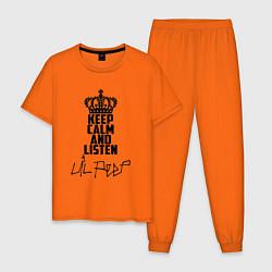 Пижама хлопковая мужская Keep Calm & Listen Lil Peep цвета оранжевый — фото 1