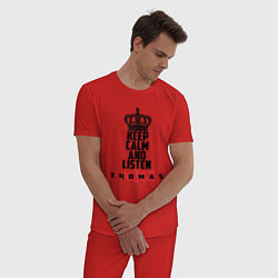 Пижама хлопковая мужская Keep Calm & Listen T.mraz цвета красный — фото 2