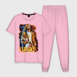 Пижама хлопковая мужская Cobain Art цвета светло-розовый — фото 1
