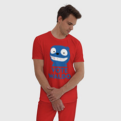 Пижама хлопковая мужская Vote Waldo цвета красный — фото 2