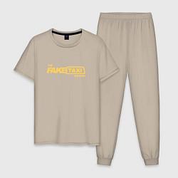 Пижама хлопковая мужская FakeTaxi цвета миндальный — фото 1