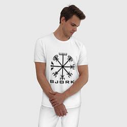 Пижама хлопковая мужская Bjork Rune цвета белый — фото 2