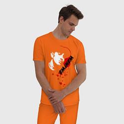 Пижама хлопковая мужская Drop of blood цвета оранжевый — фото 2