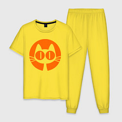 Пижама хлопковая мужская Кошка и луна цвета желтый — фото 1
