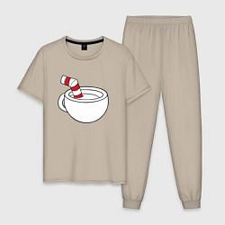 Пижама хлопковая мужская Red Cuphead цвета миндальный — фото 1