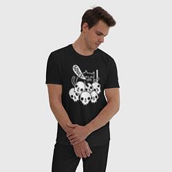 Пижама хлопковая мужская Cat Got Your Soul цвета черный — фото 2