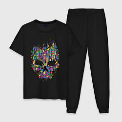 Пижама хлопковая мужская Череп цвета черный — фото 1