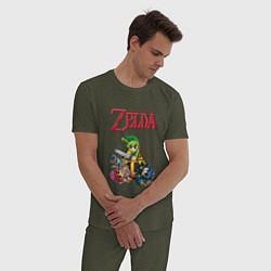 Пижама хлопковая мужская Zelda: Tri force heroes цвета меланж-хаки — фото 2