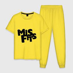Пижама хлопковая мужская Misfits цвета желтый — фото 1