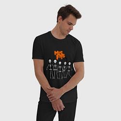 Пижама хлопковая мужская Misfits Skeletons цвета черный — фото 2