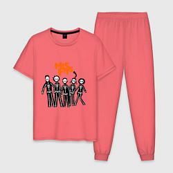 Пижама хлопковая мужская Misfits Skeletons цвета коралловый — фото 1