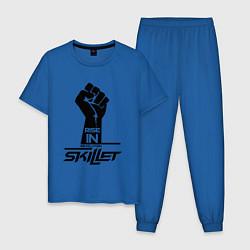 Пижама хлопковая мужская Rise in revolution: Skillet цвета синий — фото 1