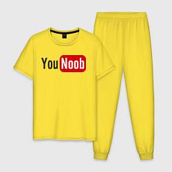 Пижама хлопковая мужская You Noob цвета желтый — фото 1