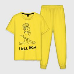 Пижама хлопковая мужская Bart: Hell Boy цвета желтый — фото 1