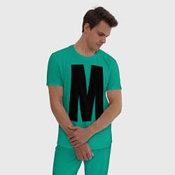 Пижама хлопковая мужская Мы(М) цвета зеленый — фото 2