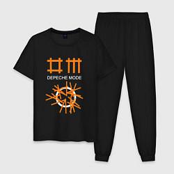 Пижама хлопковая мужская Depeche Mode: Orange Lines цвета черный — фото 1