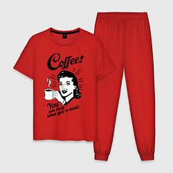 Пижама хлопковая мужская When youre dead цвета красный — фото 1
