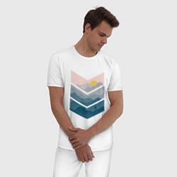 Пижама хлопковая мужская Рассвет в горах цвета белый — фото 2