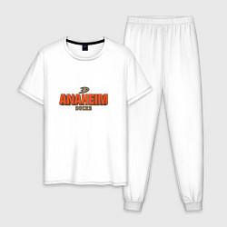 Пижама хлопковая мужская Anaheim Ducks цвета белый — фото 1