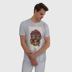 Пижама хлопковая мужская Mexico ART цвета меланж — фото 2