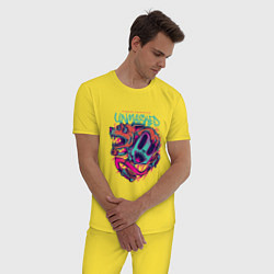 Пижама хлопковая мужская Street Unmasked цвета желтый — фото 2