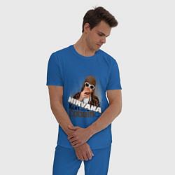 Пижама хлопковая мужская Kurt Cobain in glasses цвета синий — фото 2