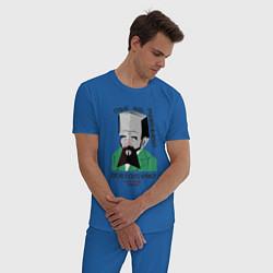 Пижама хлопковая мужская Dostoevsky Crime цвета синий — фото 2