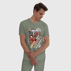 Пижама хлопковая мужская Юрий Гагарин: поехали! цвета авокадо — фото 2