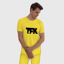 Пижама хлопковая мужская TFK: Black Logo цвета желтый — фото 2