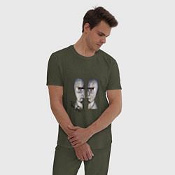 Пижама хлопковая мужская Pink Floyd цвета меланж-хаки — фото 2