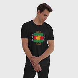 Пижама хлопковая мужская Модный гусь цвета черный — фото 2