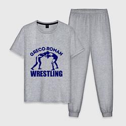 Пижама хлопковая мужская Greco-roman wrestling цвета меланж — фото 1
