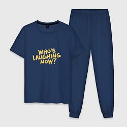 Пижама хлопковая мужская Who laughing now? цвета тёмно-синий — фото 1