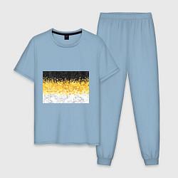 Пижама хлопковая мужская Имперский флаг пикселами цвета мягкое небо — фото 1