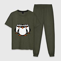 Пижама хлопковая мужская Банда пингвинов цвета меланж-хаки — фото 1