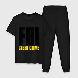 Пижама хлопковая мужская FBI: Cyber Crime цвета черный — фото 1