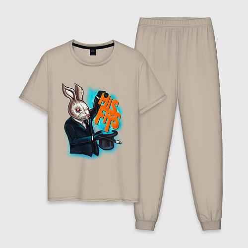 Мужская пижама Rabbit magician / Миндальный – фото 1