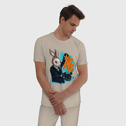 Пижама хлопковая мужская Rabbit magician цвета миндальный — фото 2