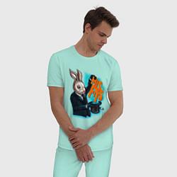 Пижама хлопковая мужская Rabbit magician цвета мятный — фото 2