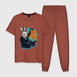 Пижама хлопковая мужская Rabbit magician цвета кирпичный — фото 1