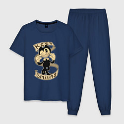 Пижама хлопковая мужская Bendy: Keep Smiling цвета тёмно-синий — фото 1