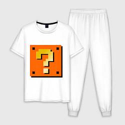 Пижама хлопковая мужская Mario box цвета белый — фото 1